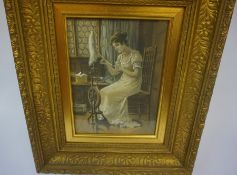 "After Eva Hollyer ""Female using Spinning Wheel and Looking at Herself with a Hand Mirror"" Two"