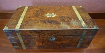 A Victorian Walnut and Brass Bound Lap Desk, With presentation plaque to the top, enclosing a