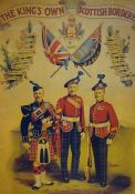 An Antique Print of the Kings Own Scottish Borderers, 49cm x 37cm, framed