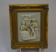 A Dresden Design Porcelain Wall Mounting Wall Plaque, 20th century, Decorated with a Classical