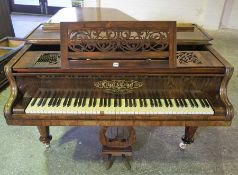 A Victorian Rosewood Boudoir Grand Piano by Collard & Collard, Sold by John Purdie 83 Princess st
