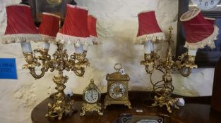 A Pair of Rococo Style Gilt Metal Candleabra, Converted to table lamps, 46cm high, also with a