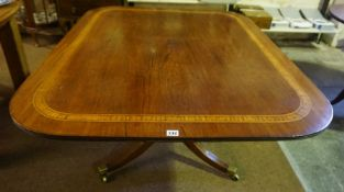 A George III Style Mahogany Inlaid Breakfast Table, circa 19th century, The snap action top raised