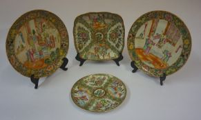 Four Pieces of Canton Famille Rose Porcelain, circa 19th century, Comprising of a square shaped