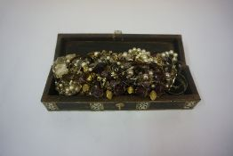 A Small Mixed Lot of Costume Jewellery, Enclosed in an Indian style hardwood box