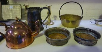 A Mixed Lot of Silver Plated and Brass Wares, To include an Antique tankard, a pair of wine