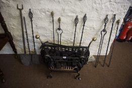A Georgian Style Wrought Iron Fire Basket, 52cm high, 83cm wide, 30cm deep, also with ten assorted