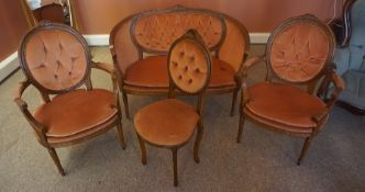 A Victorian Style Four Piece Buttonback Parlour Suite, 20th century, Comprising of settee, pair of