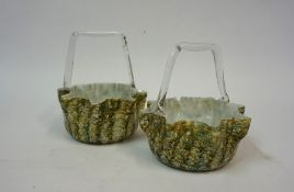 A Pair of Continental Mottled Glass Bon-Bon Baskets, circa early 20th century, with multi-coloured