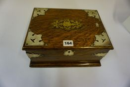 A Victorian Oak and Silver Plated Mounted Portable Box, Having a hinged top and carry handles,