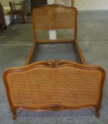 A French Bergere Single Bed, With side rails, 4ft wide