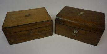 A Victorian Rosewood Portable Writing Slope, Having brass mounts, 14cm high, 30cm wide, also with