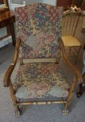 A Pair of French Carved Wood Armchairs, circa early 20th century, Upholstered in later fabric, 113cm