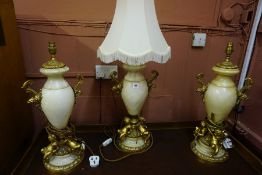 A Garniture of Three French Alabaster and Ormolu Style Urns, circa early 20th century, Converted