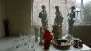 A Quantity of China and Glass, To include a Waterford style water set, a Belleek cream and sugar,