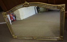 A Gilt Framed Overmantel Mirror, 20th century, 90cm high, 130cm wide