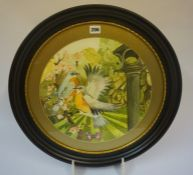 "Charles Jenkins ""Birds and Insects"" Watercolour, signed to lower left, 35cm diameter, in an ebonised"
