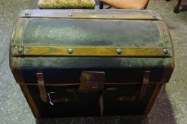 A Victorian Canvas and Leather Covered WIcker Travel Trunk, Having wood splats, 61cm high, 77cm