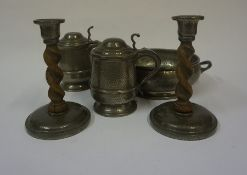 A Pair of Arts & Crafts Roundhead Pewter and Oak Candlesticks, 20cm high, also with a hammered