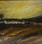 "Moy Mackay (Scottish) ""Harvest Glow"" Felted Marino Fleece Fibres, signed to lower right, 22cm x 22."