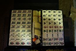 A Chines Mah-Jong Set, With four gaming stands and a chess board, (a lot)