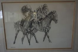 "Norman Hoad ""Horse racing Subjects"" Pastels, signed to lower left, 39cm x 58cm, (2), also with a"