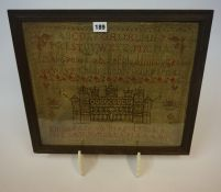 A Mid Victorian Framed Sampler, Worked by Emma Bamsworth aged 9 years, dated 1858, 35cm x 40cm, also