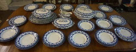 A Blue and White Pottery Dinner Set by Wood & Sons, To include tureens, serving platters, plates and