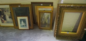 An Antique Gilt Gesso Picture Frame, picture size measurements, 36cm x 26cm, Also with eight