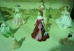 A Mixed Lot of Coalport Porcelain Statuettes, To include Jennifer and Valerie, various sizes, also