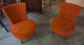 A Pair of Rust Upholstered Tub Chairs, 70cm high, (2)