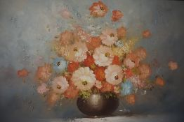 "T.Kelly (20th century) ""Still Life of Flowers in a Vase, Oil on Canvas, signed to centre, 59cm x"