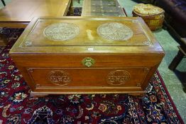 A Chinese Style Camphorwood Blanket Chest, Having a hinged top, 58cm high, 106cm wide