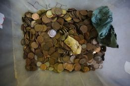 A Large Quantity of Copper Pennies, 20th century, also to include other coinage