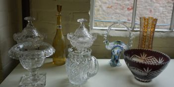A Quantity of Crystal and Coloured Glass Wares, To include an etched yellow glass decanter with
