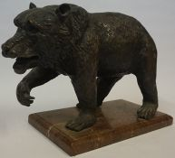 A Bronze Sculpture of a Bear, circa late 19th century, Probably Continental, Standing on a rouge