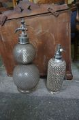 Two Vintage Soda Syphons, One example double gourd, also with two wooden serving trays, and a