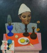 """Alberto Morrocco OBE RSA RP RGI LLD (Scottish 1929-1998) """"The Jugglers Table"""" signed and dated 84 to"""