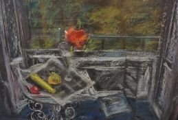 """Jean M Ford """"Poppy in a Glass"""" Pastel, 52cm x 77cm, label to verso, framed"""