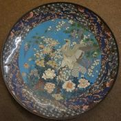 A Rare Japanese Cloisonne Enamel Plaque, Meiji period, circa late 19th century, Of large circular