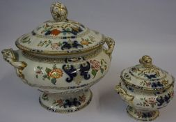 A Victorian Ironstone Dinner Service, In the imari pattern, to include tureens, sauce boats,