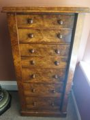 A Victorian Burr Walnut and Elm Secretaire Wellington Chest, Having seven graduated drawers, flanked