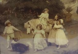 """Arthur J Elsley (1880-1950) """"Children with a Dog and Pony"""" Crystoleum, signed and dated 1903 to"""
