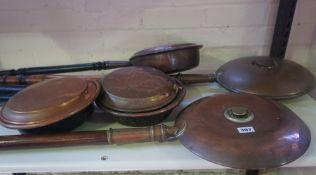 Six Vintage Copper Bed Warming Pans, Having wooden handles, 113cm long, (6)