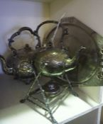 A Quantity of Silver Plated Wares, To include tea wares, baskets etc, (10)