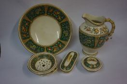 A Mixed Lot of Pottery, To include a five piece toilet set, a figure of a pug, probably by Boness