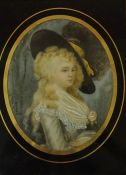 """""""Portrait of a Female"""" Miniature Watercolour on Ivory, circa 18th century, Indistinctly signed"""