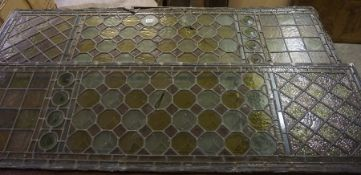 Four Stained and Leaded Coloured Glass Panels, 43cm high, 150cm wide, (4)
