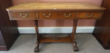 A Regency Mahogany Library Table, circa early 19th century, Having a tooled leather surface above