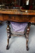 An Early Victorian Tunbridge Ware Rosewood Games Table, Enclosing a rosewood and satinwood inalid